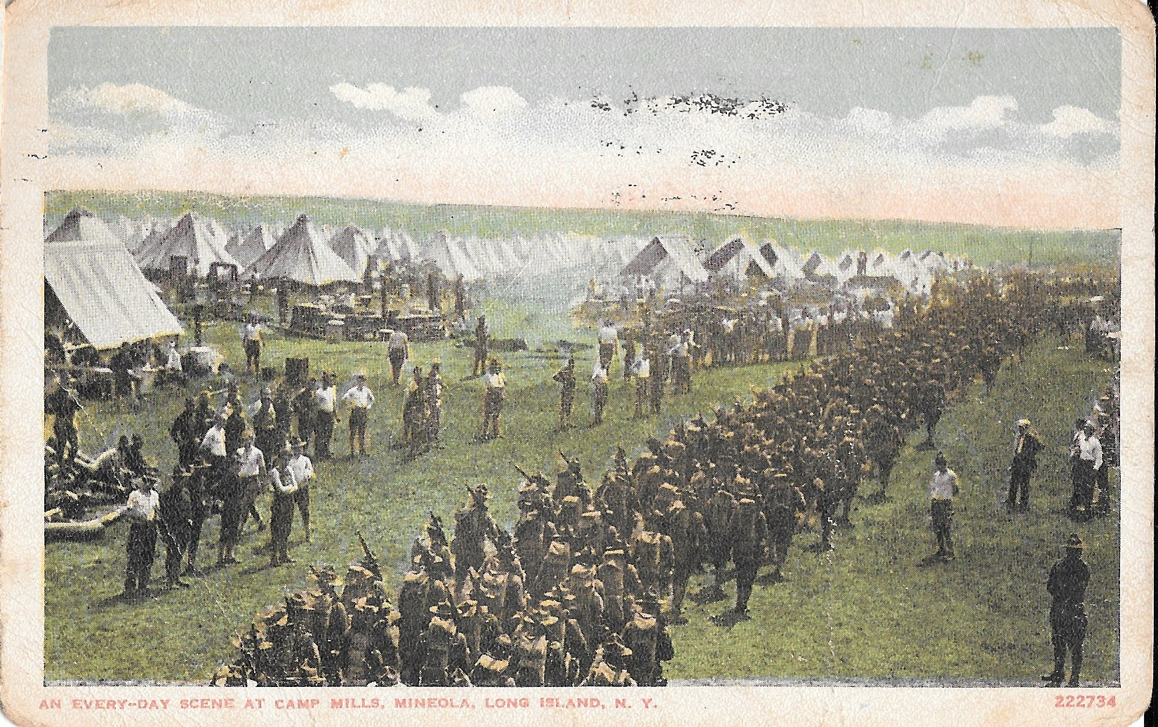 Colorized Postcard of Camp Mills in World War One