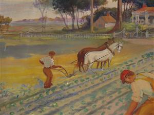 Farming panel from WPA Mural in Hicksville Middle School Auditorium.