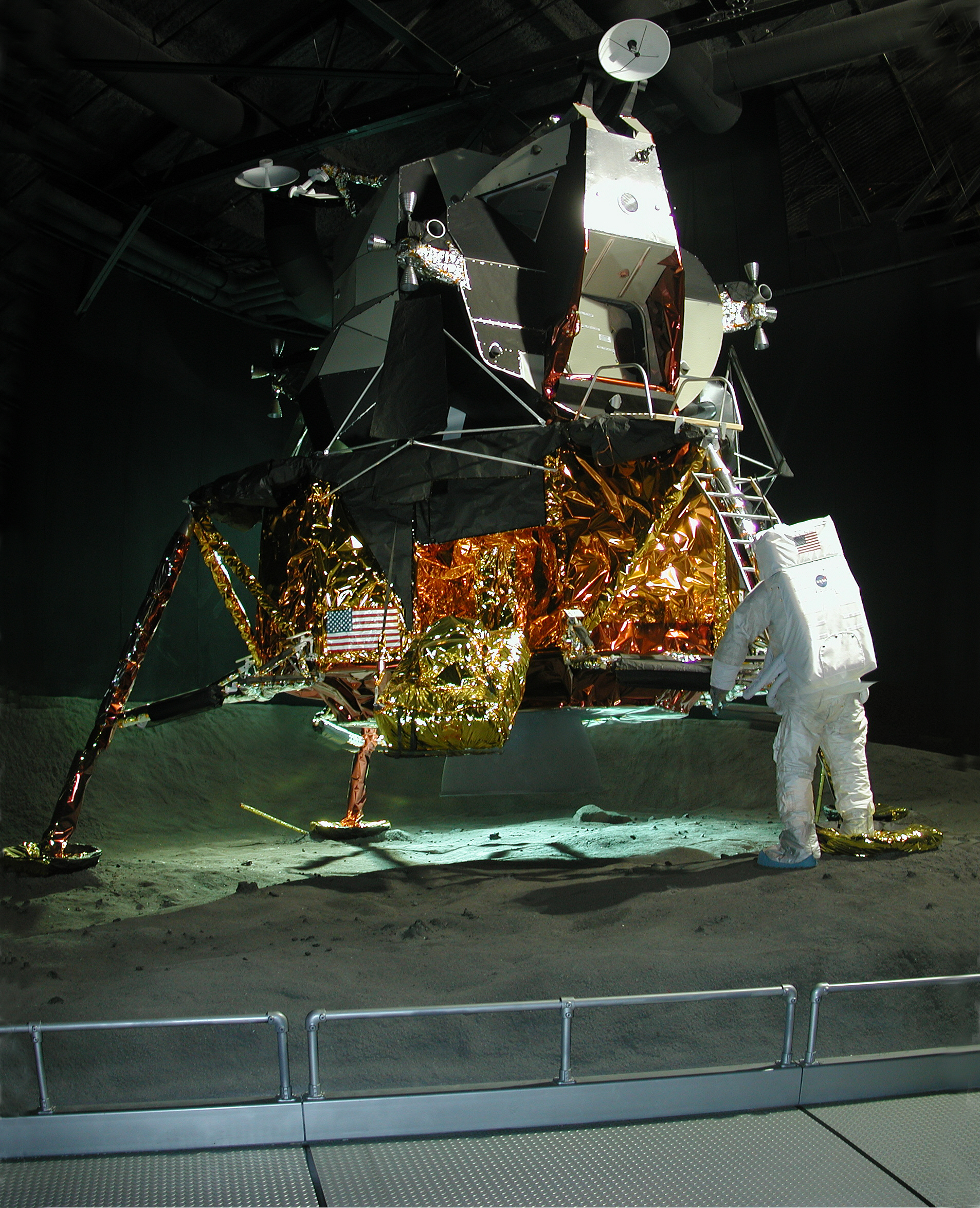 LM-13 (Cradle LM) on simulated lunar surface, Cradle of Aviation Museum